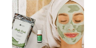 Tratamento orgânico e vegano para acne - Argila Verde + Óleo de Tea Tree